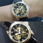 Jam Tangan Rolex Skeleton Moon Silver Leather Black