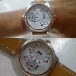 Jam Tangan Swiss Army SA 1159 Brown List Gold Plat Cream Original