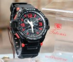 Jam Tangan Tetonis 2189B Black Red Original