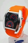 Jam Tangan TVG Speedometer Orange Ring Silver Original