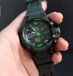 Jam Tangan Mirrage Sport 1106 Rubber DT Black Green Original