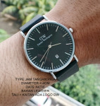 Jam Tangan DW DANIEL WELLINGTON LEATHER MEN BLACK LIST SILVER