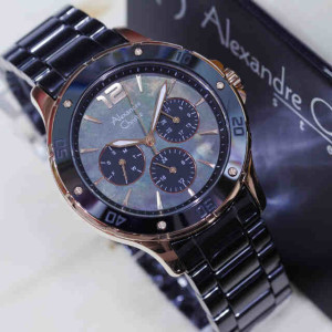 Jam Tangan Alexandre Christie Ac 2438 Black Rose Ceramic