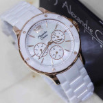 Jam Tangan Alexandre Christie Ac 2438 White Rose Ceramic