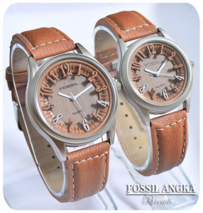 Jam Tangan FOSSIL ANGKA 3D BROWN Couple